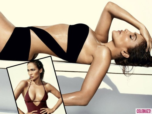 Jennifer Lopez shows off to-die-for body in swimsuits for Vogue Magazine. We wanna look like this when we are 42, damn!