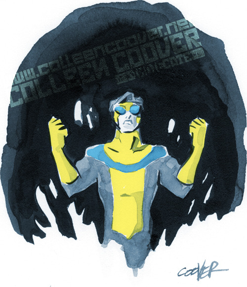 sindiecate:  Colleen here! It's Invincible! Created by @RobertKirkman @corenthal and @RyanOttley. I'm using real-world ink and paper this week, colored with Photoshop.