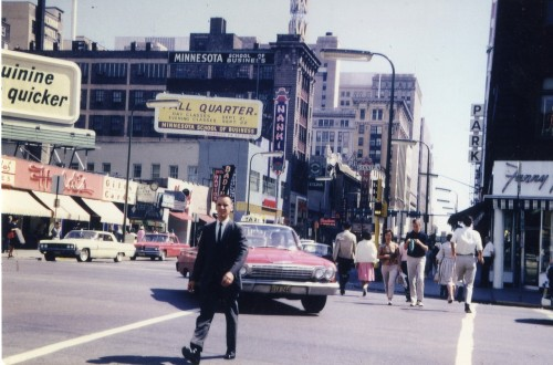 "7th Street at Hennepin, November 1964 Another gem from a ""Downtown Minneapolis: 1940-1980"" folder.  So few of our historic photos are in color and there are people in the photo as well!  The Forum and Nankin are in the background."