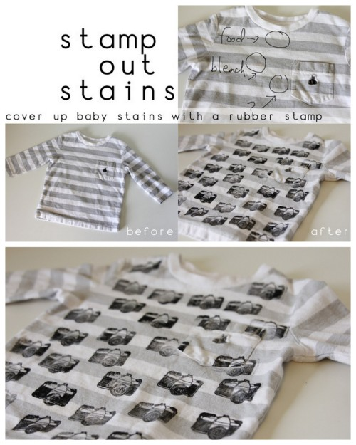 DIY Stamp Out Stains Tee Shirt Tutorial. Easy tutorial from See Kate Sew here.