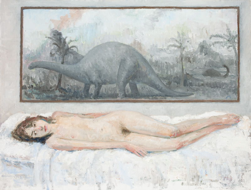 hijaktaffairs:  morgan walker under the brontosaurus painting, 2011 18 x 24""