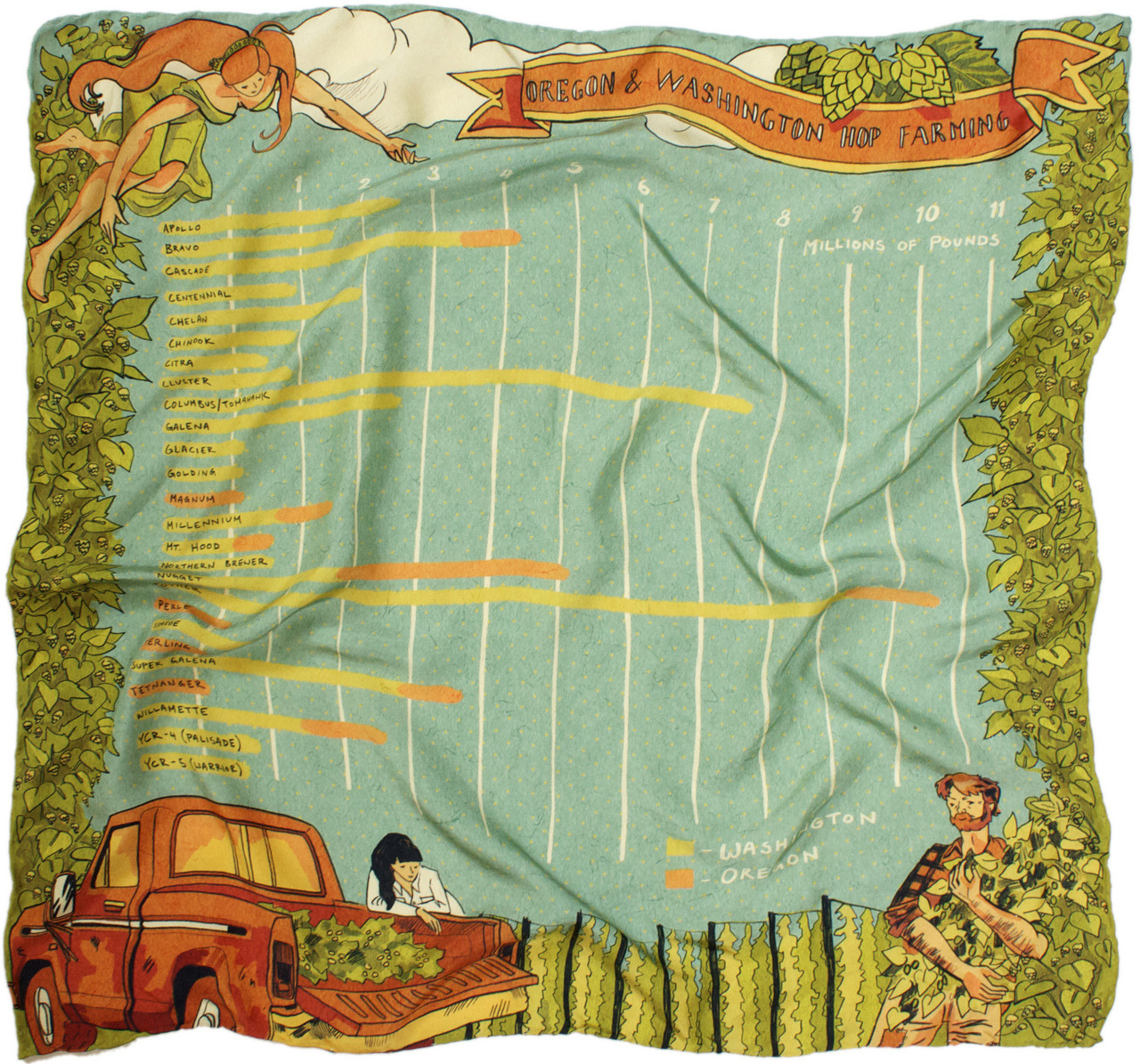 Oregon & Washington Hop Farming-part of a series of silk scarves as info-graphics