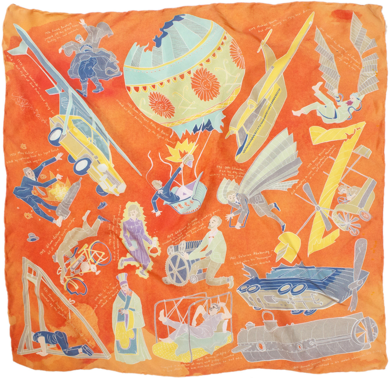 Inventors Killed by their Own Inventions-part of a series of Silk Scarves as infographics