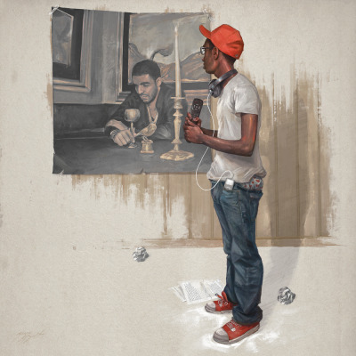 "samspratt:  ""Hope"" - Single cover art commissioned by Childish Gambino aka Donald Glover by Sam Spratt  http://www.iamdonald.com/It's been a bit surreal getting to work directly with one of my favorite actors/comedians/musicians. This Rockwellian scene of Black Americana is only the beginning, stay tuned. Download the awesome track ""We Ain't Them"" for free in the link above (Seriously, it's fucking amazing).  Damnit, Sam Spratt. This is a devastatingly righteous, regardless of its association with a musician I like."