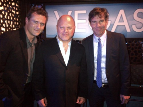The cast of #Vegas Dennis Quaid @MichaelChiklis @jason_omara on the red carpet at Lincoln Center. #CBSUpfront
