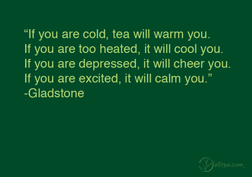 """If you are cold, tea will warm you. If you are too heated, it will cool you. If you are depressed, it will cheer you. If you are excited, it will calm you."""