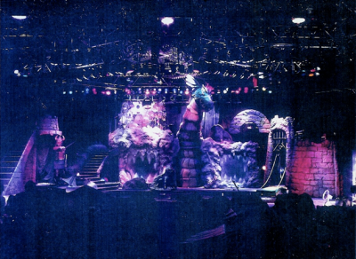 Dio — stage set (including the legendary giant dragon) for the Sacred Heart arena tour, 1985-1986.