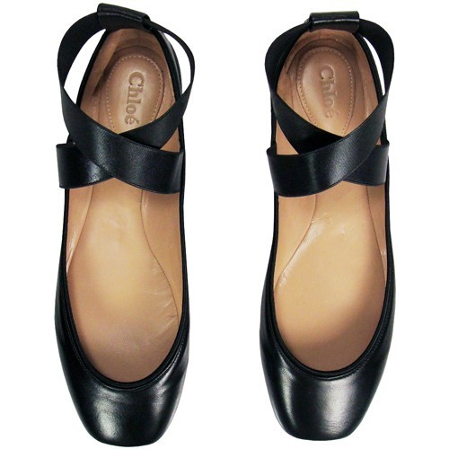 Chloe black leather ballet flats. <3so much want.