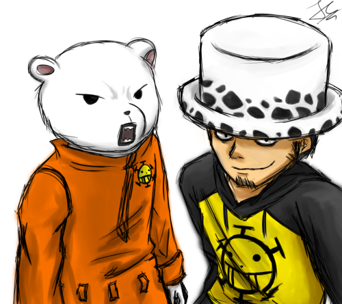 Law and Bepo from One Piece.A little art trade with my friend:)