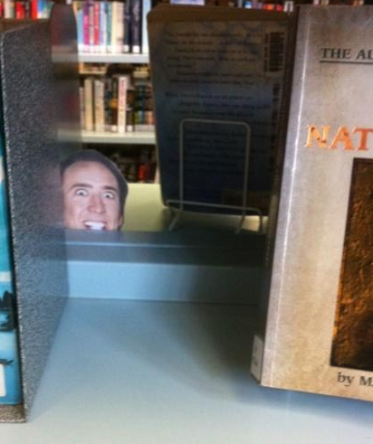 Nicolas Cage in the library