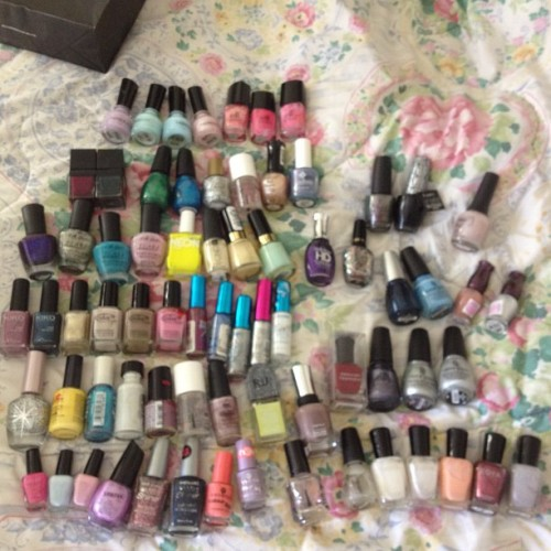 Since I'm moving I'm #selling all of my #nailpolish :( #opi #deborahlippmann #chinaglaze #zoya #etudehouse #drugstore #faceshop #kiko #colorclub etccccc  (Taken with instagram)