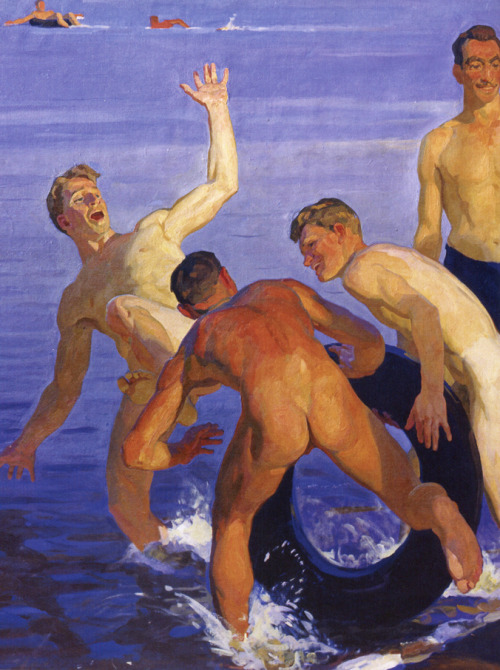 narcissusskisses:  Dmitriy Zhilinsky Bathing Soldiers (detail) 1959. Oil on canvas.