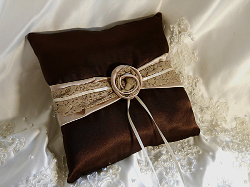 Satin Ring Bearer Wedding Pillow handmade of chocolate brown and champagne satin with taupe lace and ivory ribbon