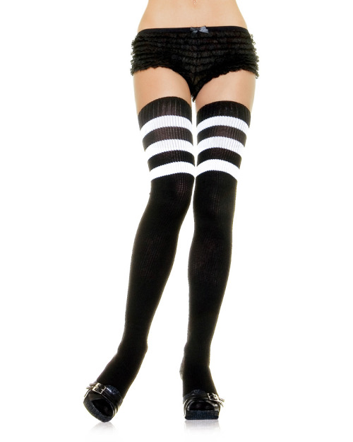 glitterpocky:  Leg Avenue Athletic Sock Thigh Highs -Black with White Stripes     $10.00