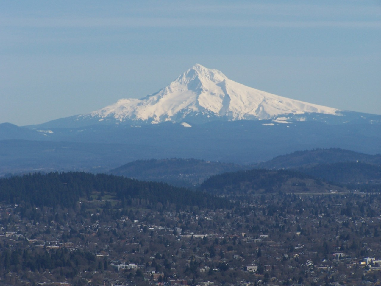 Mt. Hood in February, with East Portland and I-205 in the foreground.