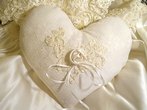 Beautiful Victorian Heart Shaped Vintage Ring Bearer Pillow, handmade of vintage fabrics and lace