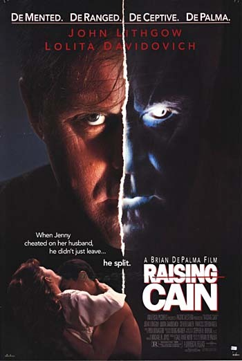 "Movie poster for the 1992 Brian De Palma film ""Raising Cain"" starring John Lithgow. Click the pic to watch the original theatrical trailer."