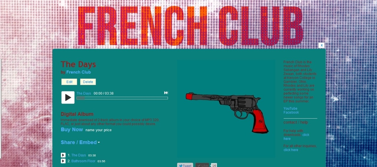 My first try at designing a bandcamp page. For French Club, my friends' band.