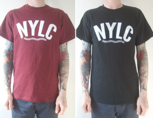 NYLC Supply - One colour, white print on black / burgundy shirts