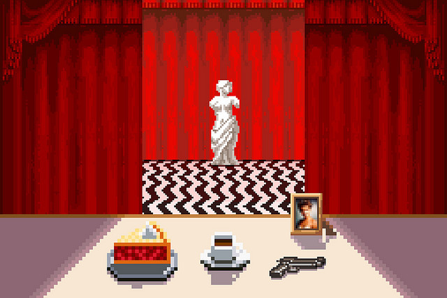 heyoscarwilde:  The owls are not what they seem. 8-bit Black Lodge from Twin Peaks illustrated by Ashley Anderson :: via pressstarttobegin