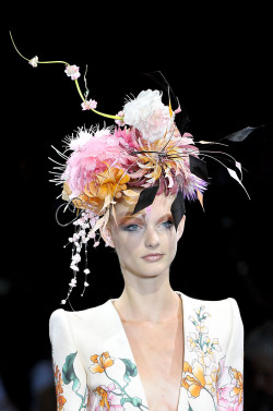 Patricia van der Vliet in headdress by Philip Treacy at Armani Privé Haute Couture F/W 2011-12.