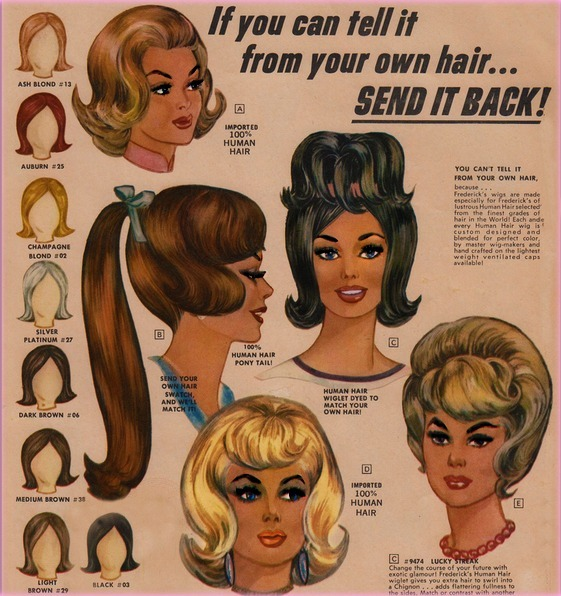 "Fredericks of Hollywood  wigs and ""wiglets"" advertisement 1954   check out The Pie Shops"