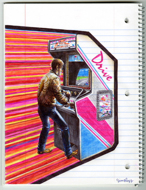 danhacker:  Drive | Jim Rugg Another phenomenal peice by Jim Rugg, done only with ballpoint pens and spiral notebook paper. The Notebook Nerd exhibition by Jim Rugg is on display at iam8bit in Los Angeles, California.   Jim Rugg has been on some kind of wild tear lately. If you can't get to the iam8bit show, there's always this Flickr set of his bananas pen drawings. Plus his new podcast, Tell Me Something I Don't Know, which he cohosts with artist Jason Lex.