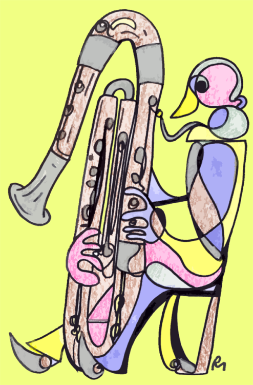 My drawing of a contrabassoonist. The contrabassoon (or double bassoon, bass bassoon) produces a very deep and somewhat morose sound. It's not okay to play one in the park. You will make the birds cry, and the sun will run away.