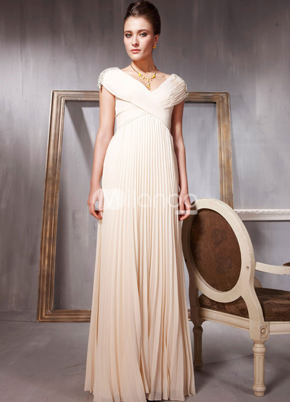 Glamour Beige V-Neck Cap Sleeves Pleated Chiffon Women's Prom Dress :  ivory glamour chiffon pleated