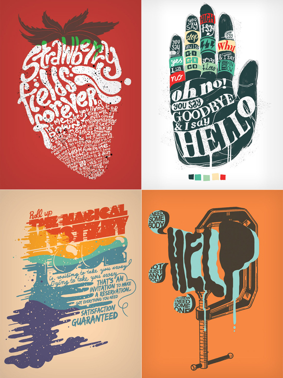 The Beatles Typographic Prints