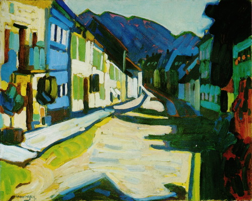V. Kandinsky, Obermarkt with Mountains, 1908