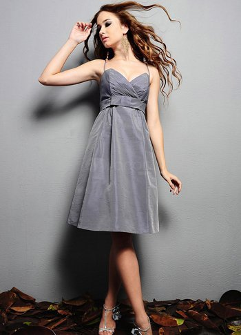 Silvery Taffeta Knee Length A-line Bridesmaid Dress :  knee length bridesmaid taffeta silvery