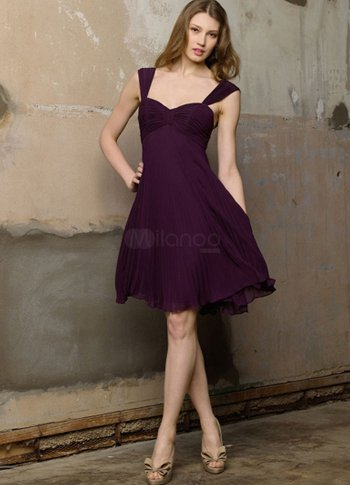Grape Chiffon Sweetheart Knee Length A line Bridesmaid Dress from annanism.tumblr.com