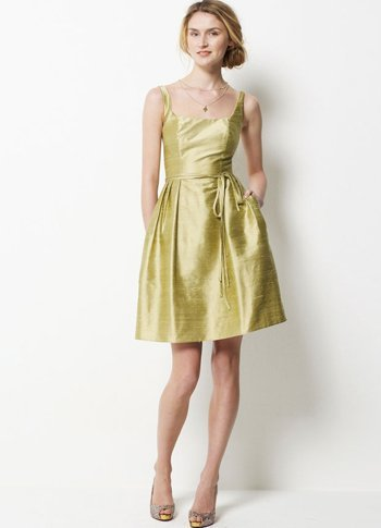 Daffodil Taffeta A-line Knee Length Bridesmaid Dress :  knee length daffodil bridesmaid taffeta