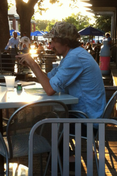 I creepily take pictures of men I find attractive at eateries in the Austin area. I'd marry this man on the spot based solely on his outfit.