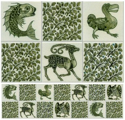 venusmilk:  William De Morgan, 1879 Handmade Victorian Wall Tiles, depicting Animalsin Green