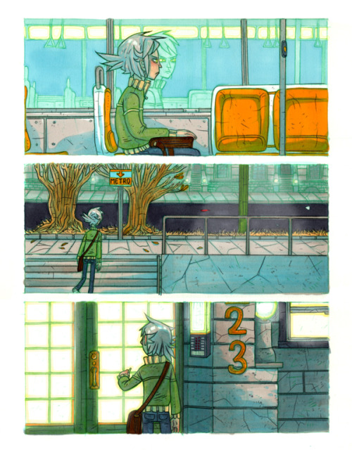 "Empty cities at night. An excerpt from a Lere comic from a little while ago that I attempted to create all in markers. This is the one I use as my twitter BG tee hee heeeee. Truthfully, I am warming you up for some new Lere comics. I had been working on something to release at TCAF, but I like to do a good job rather than rush it. It's basically me being ""I'm stressed out and have a lot of work to do, let's make more work for myself and draw Lere hiding from the sun and snuggling with his friends"" but then it gets so long because of all the little moments I want to put in it and soon it's an accidental epic tale. Life. Story."