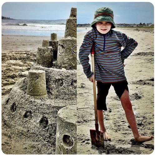 The 8yo, building #sandcastles on the beaches of #Maine (with a little help from his Abba) #noborders - Please also see #mouselinkdiptics (Taken with instagram)