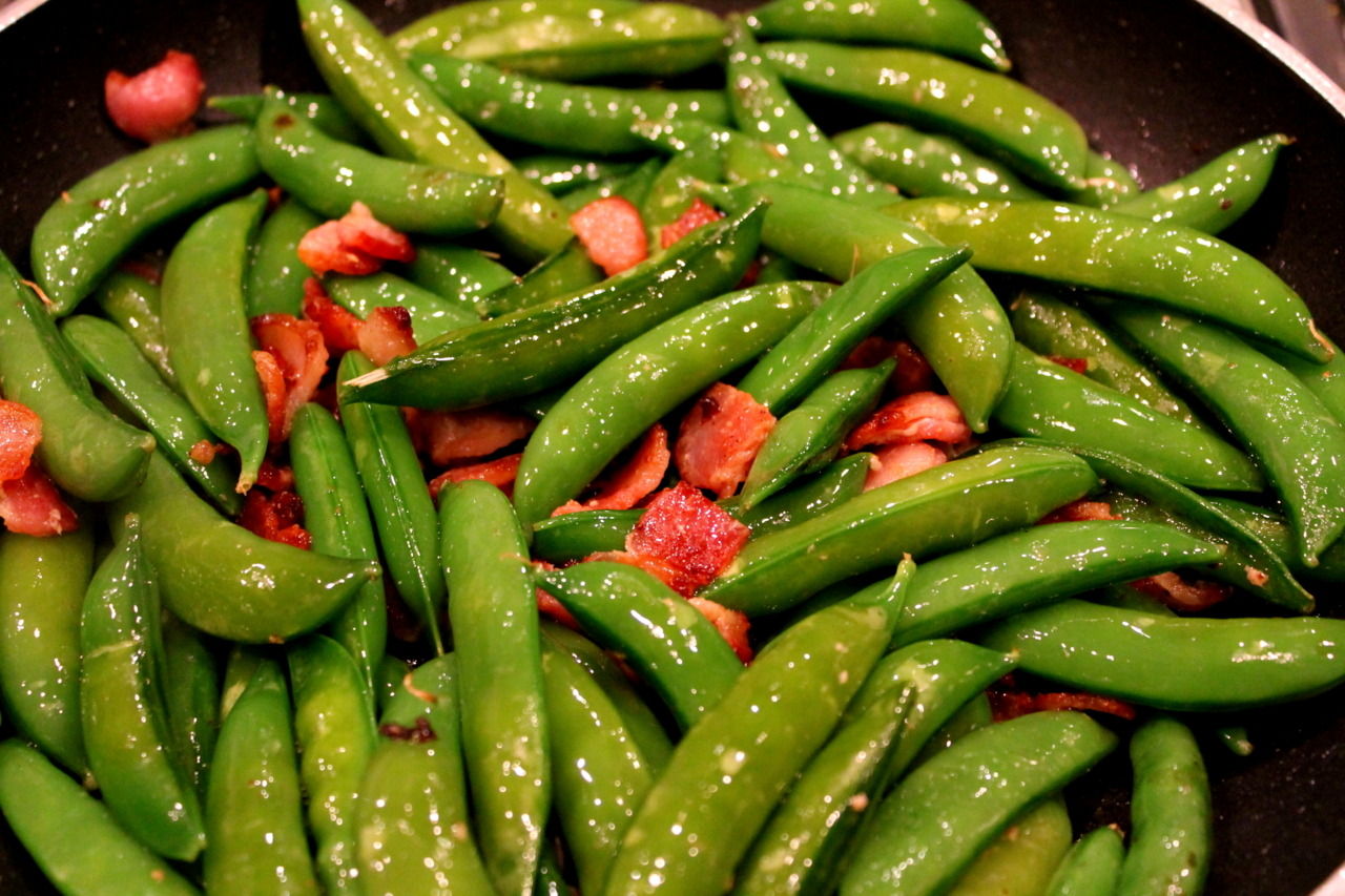 Snap peas sauteed with bacon.