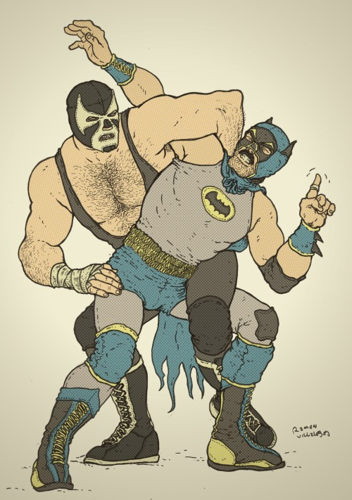 ramonvillalobos:  Batman is in one of the most lethal maneuvers in all of wrestling. Luckily he has the fortitude, the strength of will, the desire, to be the best in the world. It is his destiny to overcome all odds. The Dark Knight does not quit. The Dark Knight Rises. The Dark Knight oozes machismo. This was fun to draw. In my head though, I'm reading all of this in a hardcore Alberto Del Rio accent.