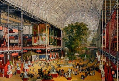 "The transept from the Grand Entrance of the Crystal Palace, Souvenir of the Great Exhibition, William Simpson (lithographer), Ackermann & Co. (publisher), 1851. With the rise and dominance of the bourgeoisie in the late 19th century, the relationship between imperialism, commerce, and consumerism begin to be celebrated in—what I call— ""spectacles of Empire,"" in which technological advancements and industrial growth were put on display in great exhibitions meant to communicate the ""greatness"" of Empire. The idea behind such exhibitions is that anyone—but really middle-class families— could buy tickets and ""enjoy"" the Empire on the weekend. One of the most famous exhibitions of the 19th century was the Exhibition of the Works of Industry of All Nations, held in London in 1851, otherwise known as the Crystal Palace exhibition.  A monument of modern iron and glass architecture, the exhibition housed and displayed an abundance of goods from British colonies and other nations. Karl Marx himself even commented on the exhibition, saying that it represented the height of some sort of capitalistic fetishism of commodities. New inventions were also crucial to the success of this exhibition. The Tempest Prognosticator, for example, was an ingenious little device that utilized leeches to predict storms."
