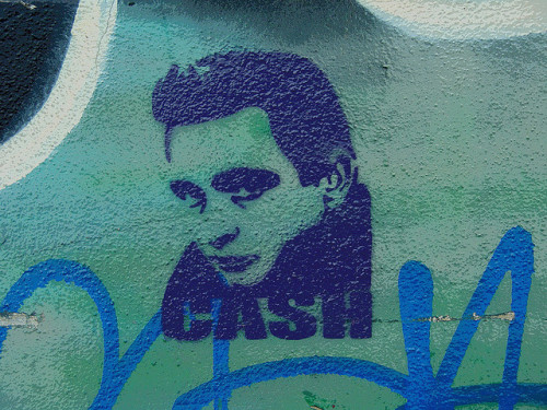 Mural:  Johnny Cash stencil graffiti by Franco Folini on Flickr.