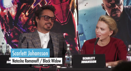 "Reporter: I have a question to Robert and to Scarlett. Firstly to Robert, throughout Iron Man 1 and 2, Tony Stark started off as a very egotistical character but learns how to fight as a team. And so how did you approach this role, bearing in mind that kind of maturity as a human being when it comes to the Tony Stark character, and did you learn anything throughout the three movies that you made? And to Scarlett, to get into shape for Black Widow did you have anything special to do in terms of the diet, like did you have to eat any specific food, or that sort of thing? Scarlett: How come you get the really interesting existential question, and I get the like, ""rabbit food"" question? The respect given to you if you're a man in the entertainment business, and the respect given to you if you're a woman in the entertainment business: all perfectly summed up in one idiotically thought out line of questioning."