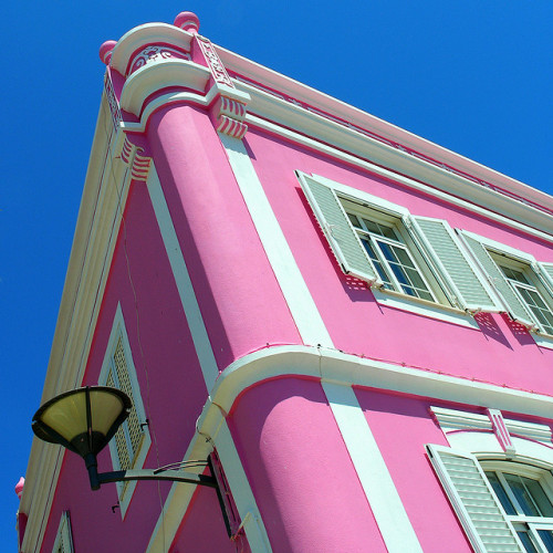 pink building by mark e dyer on Flickr.