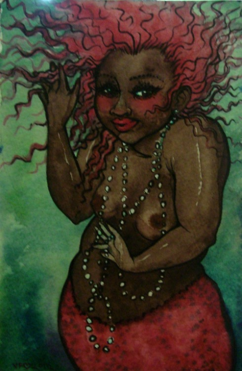 vivianfreeland:  Magical merbabe watercolor, with nipples fixed. (I was kindly informed that the pink nipples were white washing)