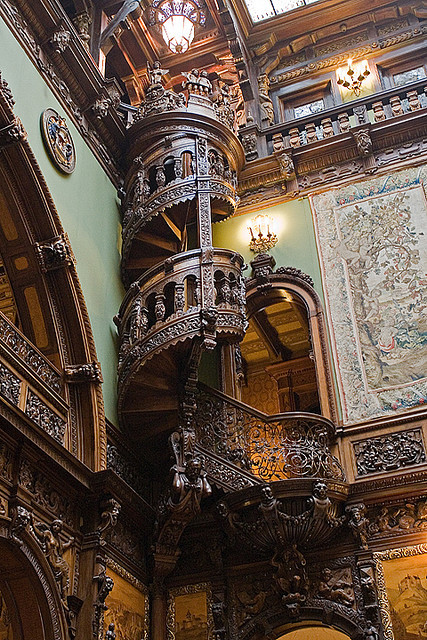 Wooden Spiral Staircase, Pele's Castle, Romania  photo by bob9billion