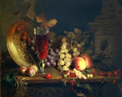 stilllifequickheart:  Blaise-Alexandre Desgoffe Still Life with Fruit, Glass of Wine 1863