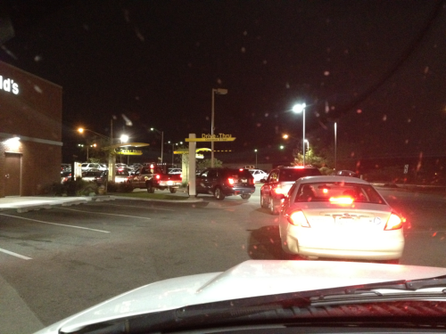 Really? It's midnight and there are this many people in line at McDonald's? I just want a smoothie to celebrate being done with finals and working tonight.