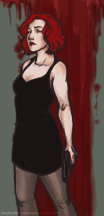 defira85:  ouyangdan:  thesilverfeatheredraven:  Black Widow from The Avengers in the dress that she wears in her first appearance. Originally, I planned to have her holding onto those heels that she picks up at the end of the scene and have her dangling them over her shoulder, but that didn't work out. And then the rest of it is basically me experimenting with some new brushes.  /dances happily  oh gosh she is gorgeous