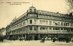 "With the assistance of Gustave Eiffel, Le Bon Marché boasted the first metal roof structure in the world, making it a monument of architectural innovation. New industries in the late 19th century helped expand the market for consumer goods, which brought the economy out of stagnation by the end of the century. Overseas imperialism also opened new markets for European consumer goods. New forms of retailing and marketing appeared—department stores, chain stores, packaging techniques, mail-order catalogs, and advertising—which simultaneously stimulated and fed consumer demand. A new way in which goods were being consumed was through the development and construction of department stores in the mid-19th century.  Department stores, such as Le Bon Marché in Paris (apparently the first department store ever) sold a wide selections of consumer goods under one roof. These modern stores increased the economic pressure on small traditional merchants who specialized in selling only one kind of product. In a traditional shop, the retailer (who was also the producer) offered a single product—gloves, for example—in limited quantity at a fairly high price. Oftentimes, this price was not set and the customer would haggle with the shopkeeper until a price was agreed upon. ""Browsing"" was virtually unheard of— an individual who entered a shop was expected to make a purchase. Department stores, however, made profits from a quick turnover of a very large volume of goods set at low prices. In order to stimulate sales, department stores sought to make shopping a very pleasant experience by offering well-lit expanses filled with alluring items, well-trained and friendly clerks, in-store reading rooms, and restaurants. Middle-class women especially were encouraged to patronize these stores even though critics had charged that these stores turned sober housewives into irrational shoppers, who were wasteful of family resources and let their consumer fantasies run wild in a store like Le Bon Marché. Indeed, women were the ones who primarily participated in the vast expansion of consumerism and domestic comfort that marked the end of the 19th century and the beginning of the 20th century. Women filled their homes with manufactured items such as clothing, china, furniture, carpets, drapery, wallpaper, and prints. In these decades, women's pursuit of fashion in their home furnishings seemed to lean towards imperial motifs as Empire began to increasingly invade the domestic spaces of the bourgeois household: Persian-inspired designs were seen on textiles, oriental carpets were laid across floors, wicker furniture was placed in drawing rooms, and Chinese porcelain was used at mealtimes."